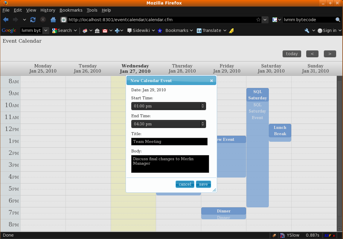 Event Calendar built with jQuery and ColdFusion | CodFusion